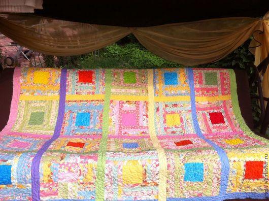 """Детская ручной работы. Ярмарка Мастеров - ручная работа. Купить одеяло  """"РАДУЖНЫЕ ПЕРЕЛИВЫ"""". Handmade. Одеяло пэчворк, кресло, цветное"""