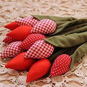 Куклы и игрушки ручной работы. Ярмарка Мастеров - ручная работа Тюльпаны текстильные красные. Handmade.