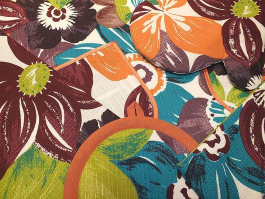 """Кухня ручной работы. Ярмарка Мастеров - ручная работа. Купить """"Крупные цветы"""" набор на кухню. Handmade. Крупные цветы, чесуча"""