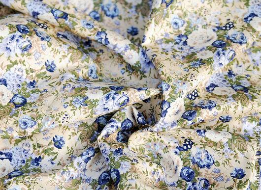 Шитье ручной работы. Ярмарка Мастеров - ручная работа. Купить Итальянский штапель, розы на бежевом фоне, ткань хлопок шитья одежды. Handmade.