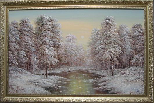 Пейзаж ручной работы. Ярмарка Мастеров - ручная работа. Купить Первый лёд. Handmade. Серебряный, пейзаж маслом, зимний лес