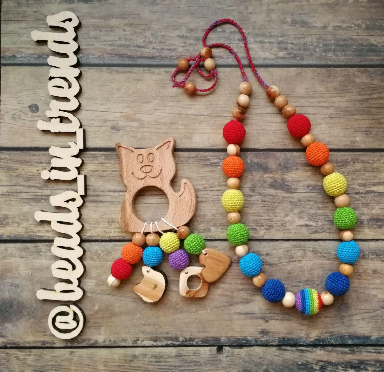 Teething Necklaces handmade. Livemaster - handmade. Buy A set of Slingbox and teething toy-rattle 'rainbow''.Rainbow