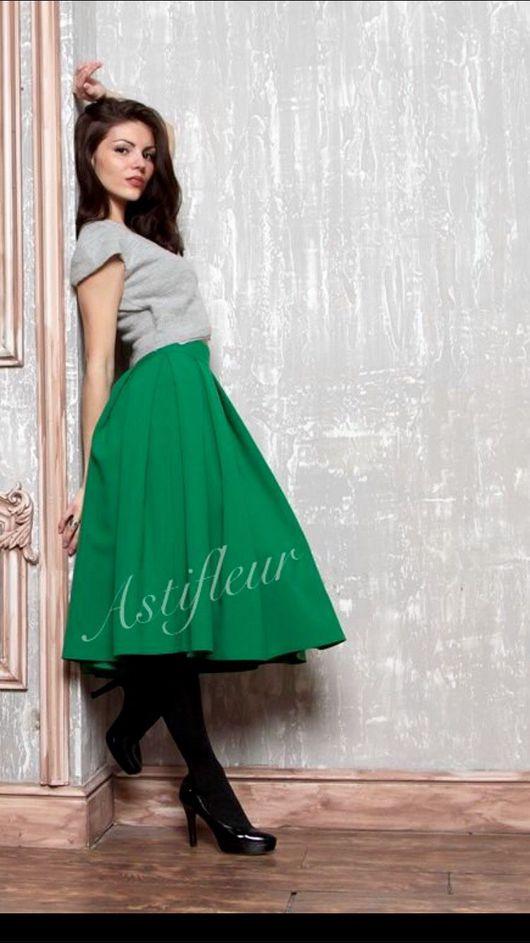 Юбки ручной работы. Ярмарка Мастеров - ручная работа. Купить Зеленая юбка миди. Handmade. Зеленый, зеленый цвет