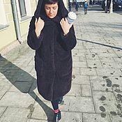 Одежда ручной работы. Ярмарка Мастеров - ручная работа SALE Шуба из темно-коричневой овчины с капюшоном. Handmade.