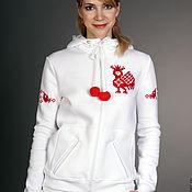 Одежда handmade. Livemaster - original item White cotton sweatshirt, clothing with Russian ornaments. Handmade.
