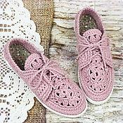 Обувь ручной работы handmade. Livemaster - original item Loafers with laces of flax womens. Handmade.