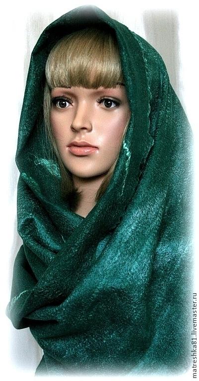Шарфы и шарфики ручной работы. Ярмарка Мастеров - ручная работа. Купить шарф валяный... нуновойлок. Handmade. Тёмно-зелёный