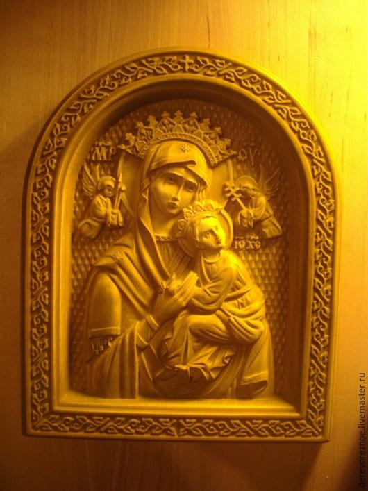 """Иконы ручной работы. Ярмарка Мастеров - ручная работа. Купить Резная икона из дерева """" Богоматерь Неустанной Помощи''. Handmade."""