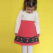 """Работы для детей, ручной работы. Ярмарка Мастеров - ручная работа """"Коралловое с орнаментом"""". Трикотажное платье. Handmade."""