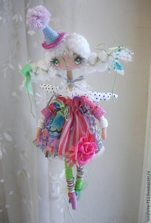 Коллекционные куклы ручной работы. Ярмарка Мастеров - ручная работа. Купить Коломбина. Handmade. Коломбина, розовый, ангел-хранитель