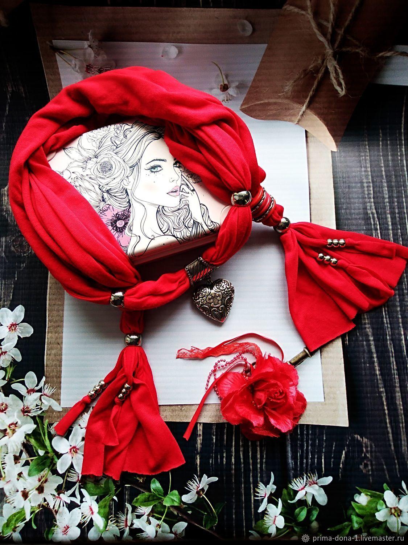 Шарф красный.Брошь Красная роза любви .Подарочный набор, Именные сувениры, Новочеркасск,  Фото №1