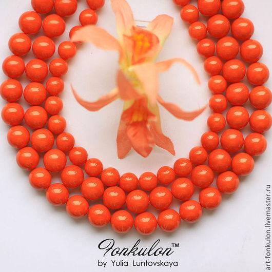 Для украшений ручной работы. Ярмарка Мастеров - ручная работа. Купить Жемчуг Майорка оранжевый бусины 8мм 10мм 12мм. Handmade.
