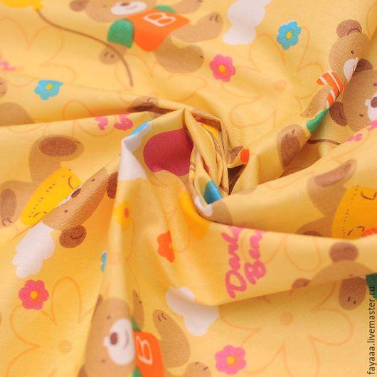 """Шитье ручной работы. Ярмарка Мастеров - ручная работа. Купить Хлопок """"Мишки"""" ткани для тильд, пэчворка, кукол. Handmade. Разноцветный"""