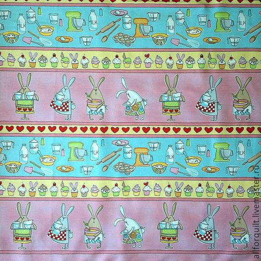 Шитье ручной работы. Ярмарка Мастеров - ручная работа. Купить Ткань бордюрная (Хлопок США). Зайцы. Handmade. Хлопок