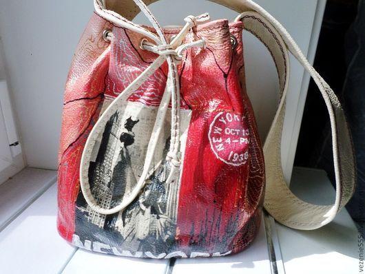 Женские сумки ручной работы. Ярмарка Мастеров - ручная работа. Купить Сумка   кожаная женская Нью Йорк. Handmade. Белый
