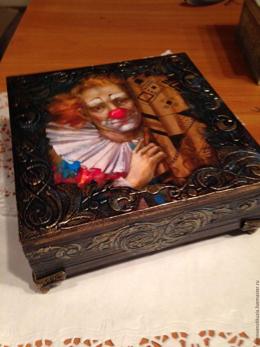 Шкатулки ручной работы. Ярмарка Мастеров - ручная работа. Купить шкатулка Грустный клоун. Handmade. Коричневый, шкатулка деревянная, шкатулки