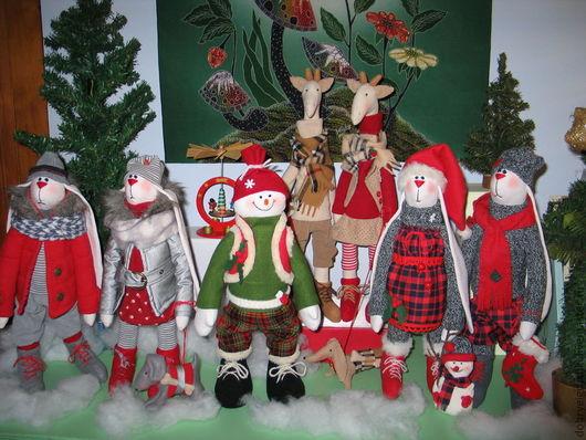 Куклы Тильды ручной работы. Ярмарка Мастеров - ручная работа. Купить Новогодняя компания. Handmade. Ярко-красный, зайцы тильда