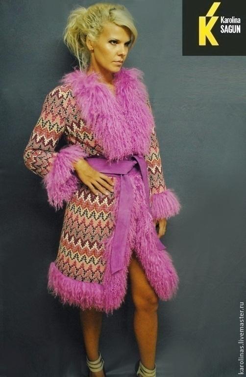 Верхняя одежда ручной работы. Ярмарка Мастеров - ручная работа. Купить Пальто с отделкой цельной ламой 100 см. Handmade.