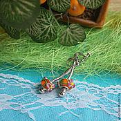 """Украшения ручной работы. Ярмарка Мастеров - ручная работа Клипсы   в стиле  пандора """"Апельсиновый цветок"""". Handmade."""