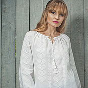"Одежда ручной работы. Ярмарка Мастеров - ручная работа Белая вышитая блуза вышиванка  ""Нежно-белая мечта"" ручная вышивка. Handmade."