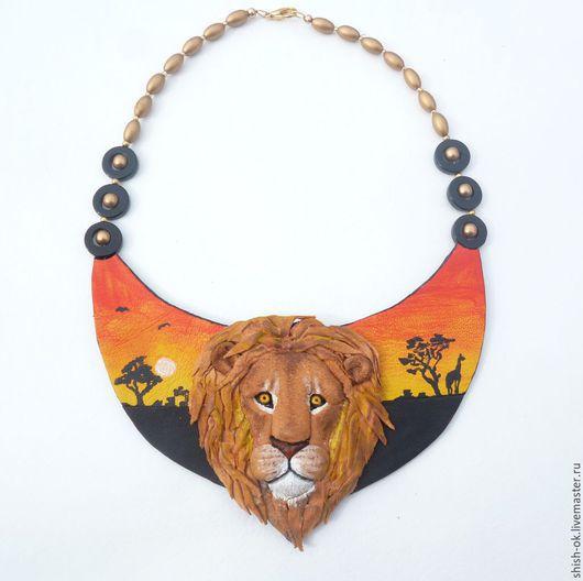 """Колье, бусы ручной работы. Ярмарка Мастеров - ручная работа. Купить Колье из кожи """"Кения"""". Handmade. Ярко-красный, лев"""