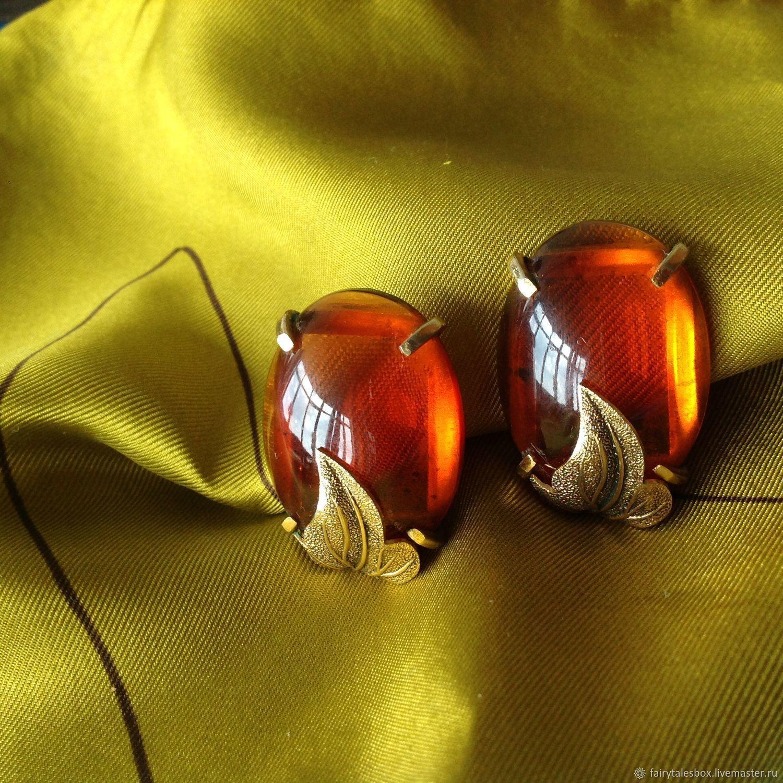 Винтажные украшения. Ярмарка Мастеров - ручная работа. Купить Винтаж: Клипсы Whiting & Davis янтарные капли, винтаж. Handmade.