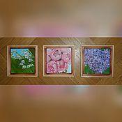 """Картины и панно ручной работы. Ярмарка Мастеров - ручная работа Цветочные миниатюры """"Ландыши"""", """"Пионы"""" и """"Сирень"""". Handmade."""