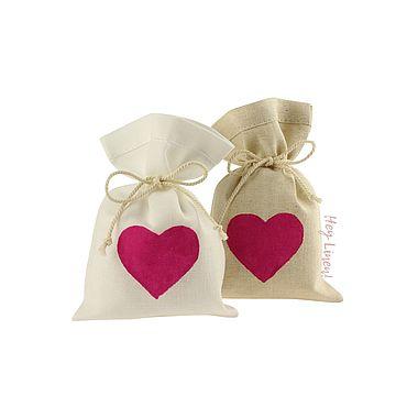 Свадебный салон ручной работы. Ярмарка Мастеров - ручная работа 10х15см. 10шт. Мешочки льняные с малиновым сердцем. Handmade.
