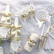 Наборы аксессуаров ручной работы. Ярмарка Мастеров - ручная работа Свадебный набор в нежно-золотом цвете. Handmade.