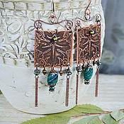 Украшения handmade. Livemaster - original item Copper earrings Lesnoy Soyuz - Boho earrings with stones Square. Handmade.