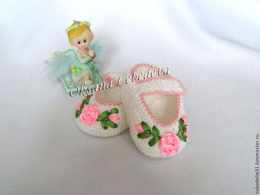 Для новорожденных, ручной работы. Ярмарка Мастеров - ручная работа. Купить Пинетки вязаные крючком из хлопка белые туфельки  для девочки Роза. Handmade.