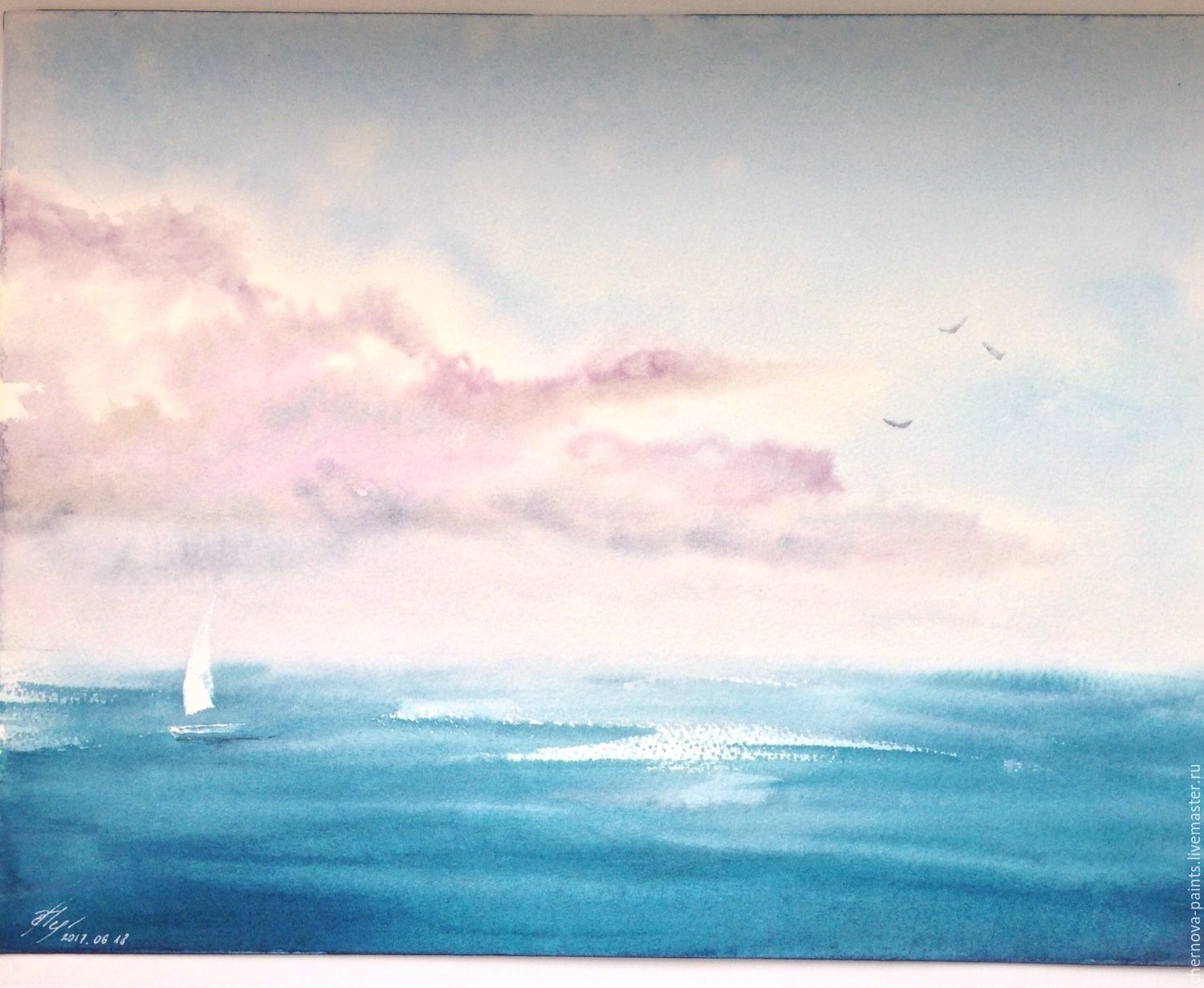 Landscapes handmade. Livemaster - handmade. Buy Watercolor painting Gentle breeze 31x41cm.Summer, clouds, sea painting, watercolor