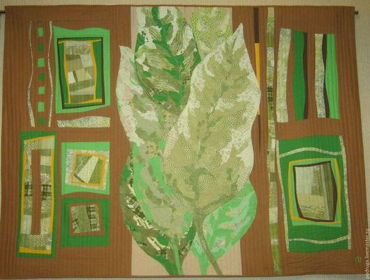 """Абстракция ручной работы. Ярмарка Мастеров - ручная работа. Купить """"Под шелест листьев"""". Handmade. Коричневый, текстильное панно"""