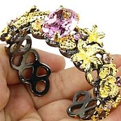 "Украшения handmade. Livemaster - original item Bracelet ""Pink haze"" from 925 sterling silver with black rhodium. Handmade."