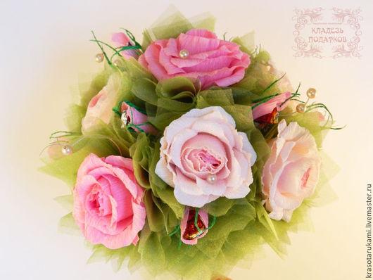 """Букеты ручной работы. Ярмарка Мастеров - ручная работа. Купить Ручной конфетный букет """"Розы"""". Handmade. Розовый, свадьба"""