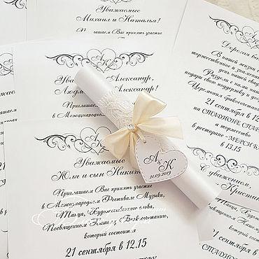 Свадебный салон ручной работы. Ярмарка Мастеров - ручная работа Приглашение-свиток с айвори бантом и кружевом. Handmade.