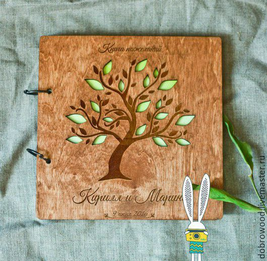 Свадебные фотоальбомы ручной работы. Ярмарка Мастеров - ручная работа. Купить книга пожеланий из дерева. Handmade. Коричневый
