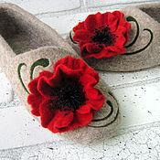 """Обувь ручной работы. Ярмарка Мастеров - ручная работа Тапочки с маками, женские, валяные """"Опиум"""". Handmade."""
