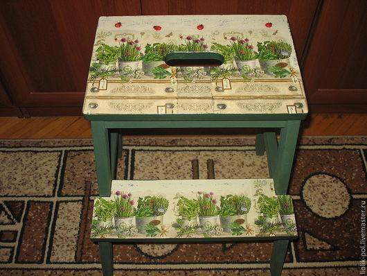"""Мебель ручной работы. Ярмарка Мастеров - ручная работа. Купить Табурет стремянка """"Уголок садовника"""". Handmade. Тёмно-зелёный, дача"""
