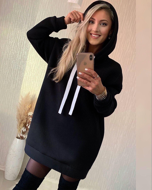 Чёрный худи оверсайз с капюшоном, Кофты, Москва, Фото №1