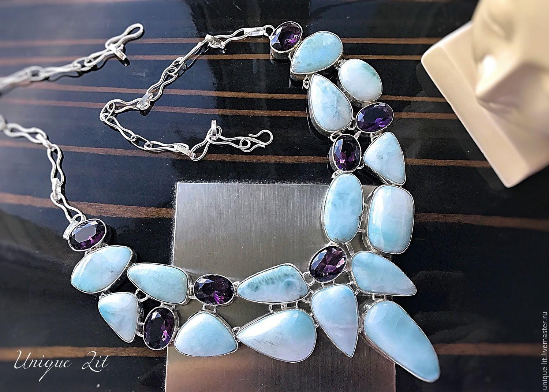 Necklace made of beautiful blue Larimar, Necklace, Pushkino,  Фото №1