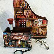 """Журнальницы ручной работы. Ярмарка Мастеров - ручная работа Журнальница и карандашница """"В библиотеке"""". Handmade."""