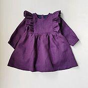 Работы для детей, handmade. Livemaster - original item Vestido de lino-Body para niña. Handmade.