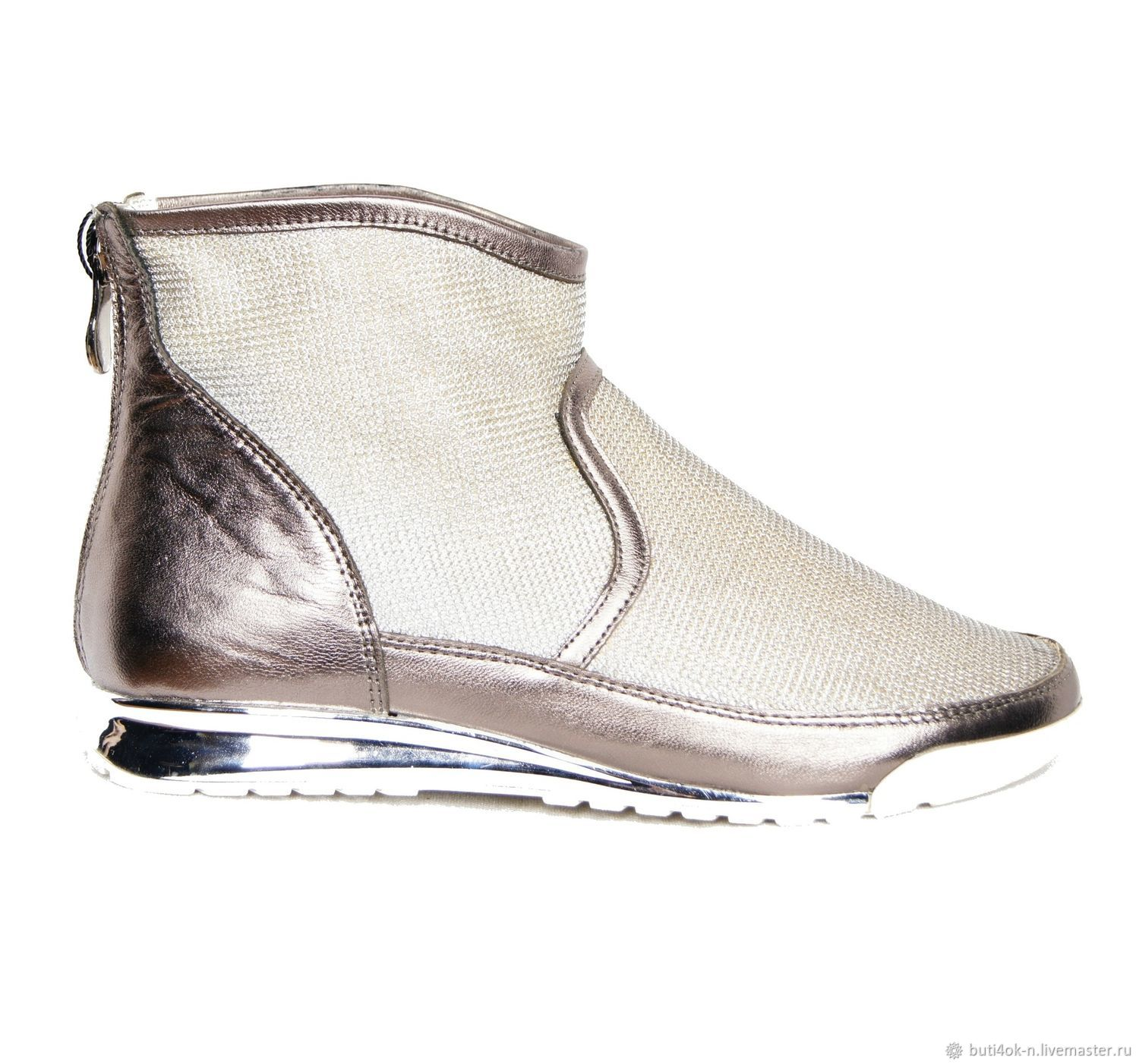 Silver shoes genuine leather, Boots, Nelidovo,  Фото №1