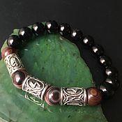 Украшения handmade. Livemaster - original item Men`s Wealth Bracelet with runes, Agates. Handmade.