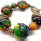 Bead bracelet handmade. Livemaster - original item Bracelet in lampwork technique.. Handmade.