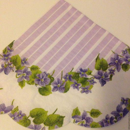 Сиреневые цветы и сиреневый фон - салфетка для декупажа Декупажная радость