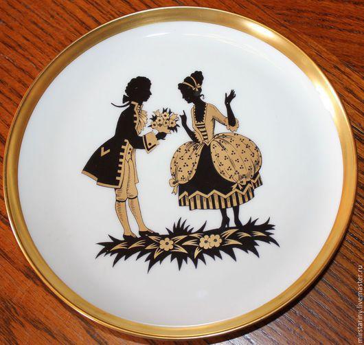 """Винтажные предметы интерьера. Ярмарка Мастеров - ручная работа. Купить 3 красивые тарелки с танцами """"Галантный Менуэт"""", Furstenberg, Германия. Handmade."""
