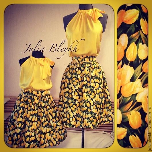 """Юбки ручной работы. Ярмарка Мастеров - ручная работа. Купить Family look """"Желтые тюльпаны"""". Handmade. Желтый, мама и дочка"""