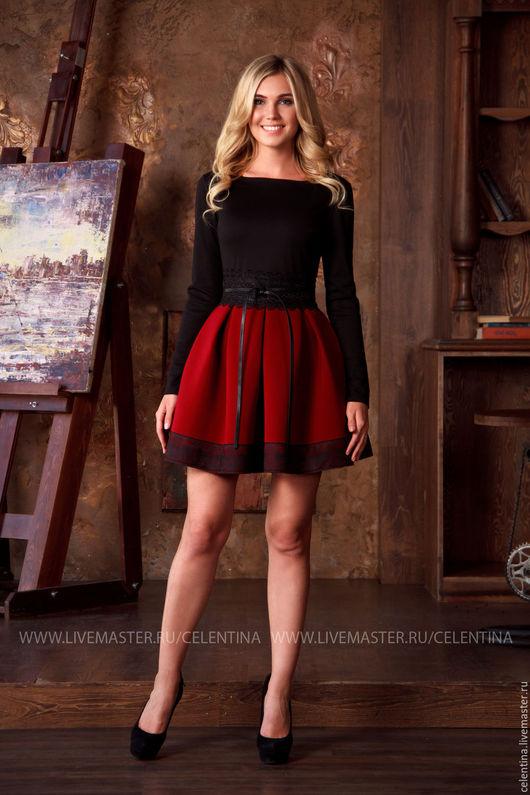 короткое платье с пышной юбкой, платье из неопрена, платье с длинным рукавом, красивое модное платье, молодежный стиль, молодежная мода, платье для вечеринки, платье нарядное, нарядное платье, секси
